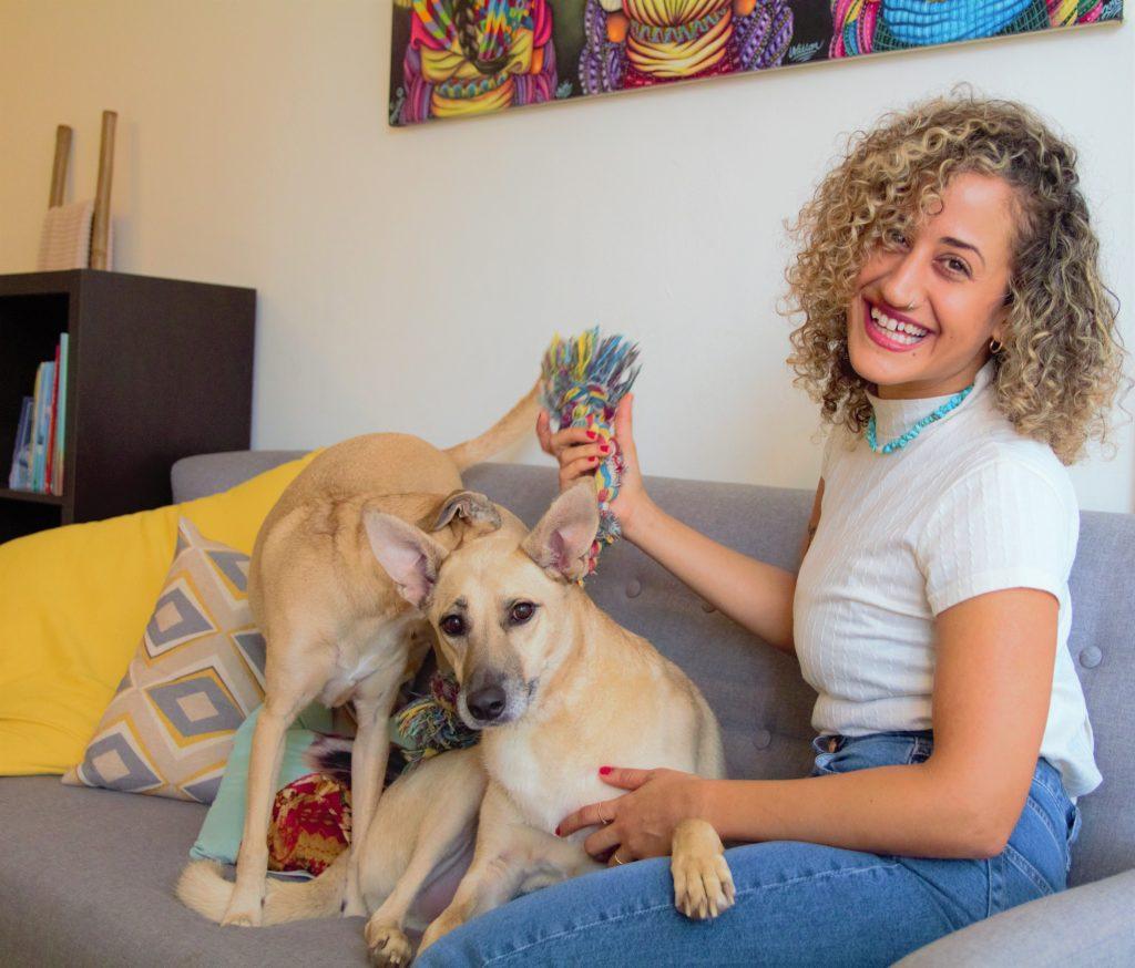 יעל והכלבים משחקים על הספה בקליניקה טיפול רגשי באמצעות כלבים